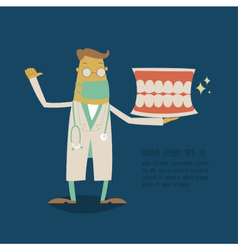 Dentist holding a teeth model vector