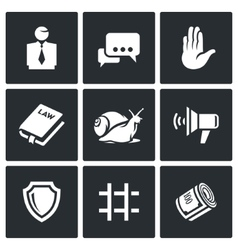 Lawyer and court hearing icons set vector