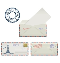 Set of envelopes from paris with a painted the vector