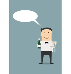Waiter with champagne and wine glasses vector
