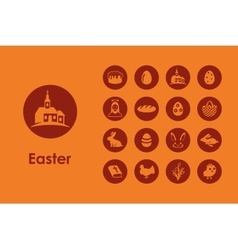 Set of easter simple icons vector