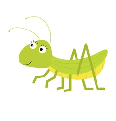 Grasshopper cute cartoon character white vector