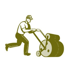 Gardener Landscaper Pushing Lawn Roller Retro vector image