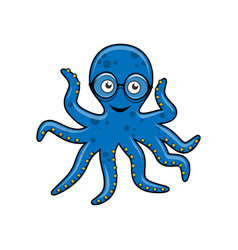 Blue octopus with glasses vector