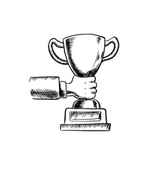 Businessman holding a trophy cup vector image vector image