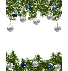Christmas greeting card green fir branches with vector