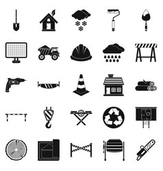 construction material icons set simple style vector image