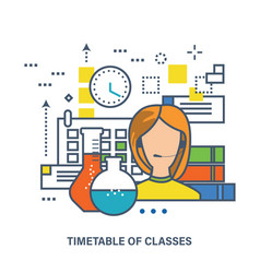 Education online courses and timetable of classes vector