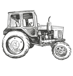 Farm tractor hand drawn vector