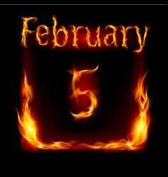 Fifth february in calendar of fire icon on black vector