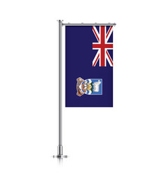 Flag of falkland islands hanging on a pole vector