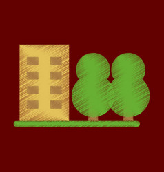 flat icon in shading style multi-storey building vector image