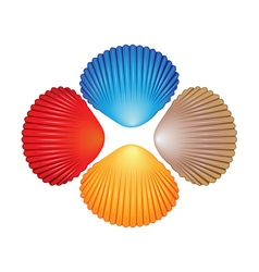 Four different colored seashells vector image vector image