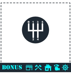 Gear shifter icon flat vector