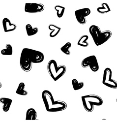 Heart dry brush seamless modern pattern vector image