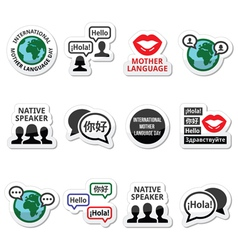 International Mother Language Day icons set vector image