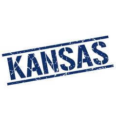 Kansas blue square stamp vector