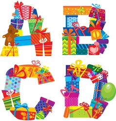 letters are made of gift boxes vector image