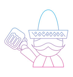Man with sombrero holding beer mexico culture icon vector