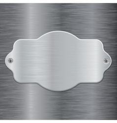 Metal shield plate on brushed steel background vector image