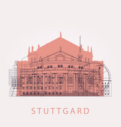 Outline stuttgart skyline with landmarks vector