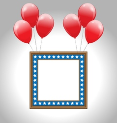 Photo frame in US national colors with balloons vector image vector image
