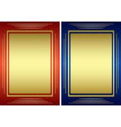 red and blue frames with golden decoration vector image vector image