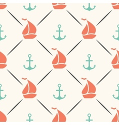 Seamless pattern of anchor sailboat shape in frame vector image