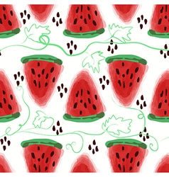 Seamless pattern of sweet juicy pieces watermelon vector