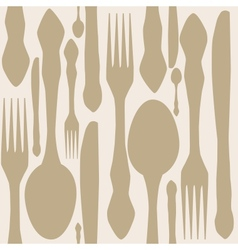 seamless pattern with forks spoons end knifes vector image