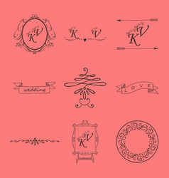 set of decorative calligraphic elements floral vector image vector image