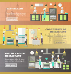 set of kitchen horizontal banners in flat vector image vector image