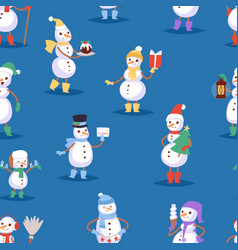 snowman cute cartoon winter christmas character vector image vector image