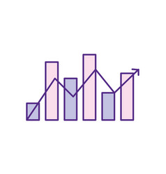 statistics bar diagram with arrow growing vector image vector image