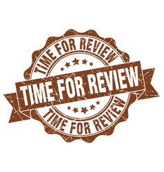 time for review stamp sign seal vector image vector image