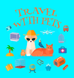 Travel with pets background vector