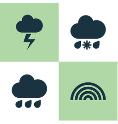 Weather icons set collection of colors rainy vector