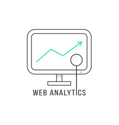 Web analytics with black thin line pc vector