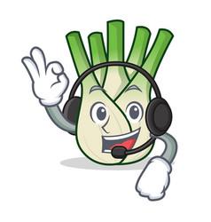 With headphone fennel mascot cartoon style vector