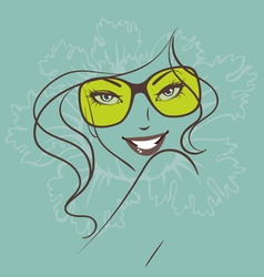 women face sunglasses green vector image