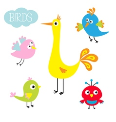 Cartoon bird set cute cartoon character funny vector
