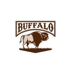 Buffalo american bison side woodcut vector