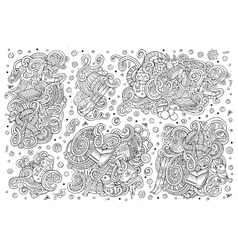 Cartoon set of winter season doodles designs vector