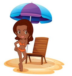 A tan lady wearing an orange swimsuit vector
