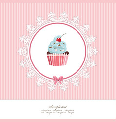 Greeting card template with cupcake for birthday vector