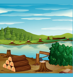 River scene with chopped woods on the banks vector