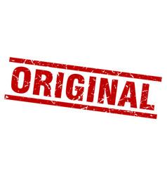 Square grunge red original stamp vector