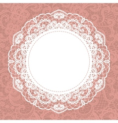 Elegant doily on lace gentle background vector image