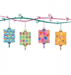 party lanterns vector image