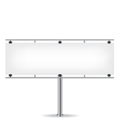 Blank metal billboard on white background vector